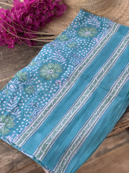 Sarong pareo in hand block print cotton no 87 -  AUROBELLE  IBIZA