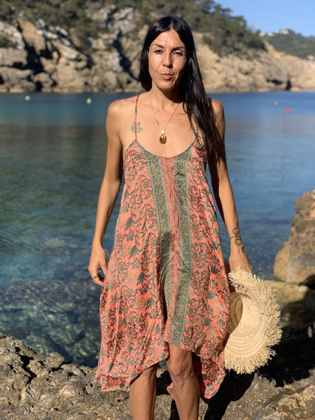 Selina DRESS in salmon pink  sexy summer style -  AUROBELLE  IBIZA