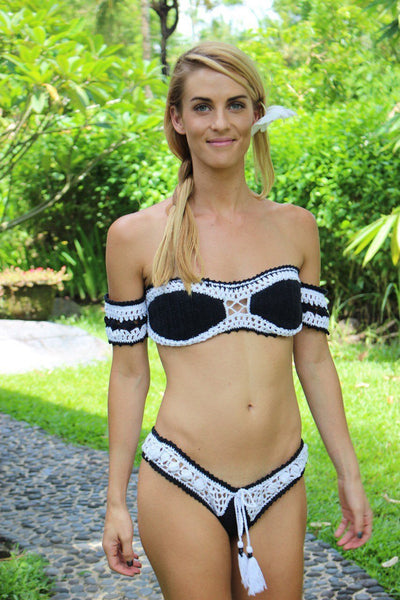 SEXY black & white off shoulder bikini hand crochet made from Ibiza -  AUROBELLE  IBIZA