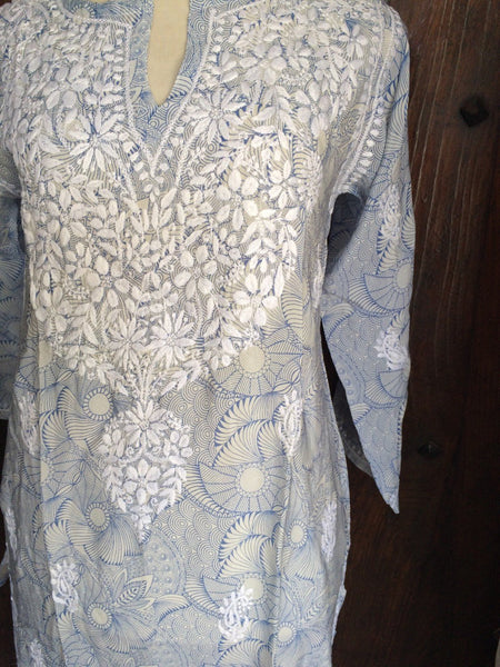 Silk chiffon tunic in light jeans blue with amazing hand embroidery in white -  AUROBELLE  IBIZA