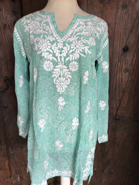 Silk kurta 2019 turquoise paisley , all with hand embroidery -  AUROBELLE  IBIZA