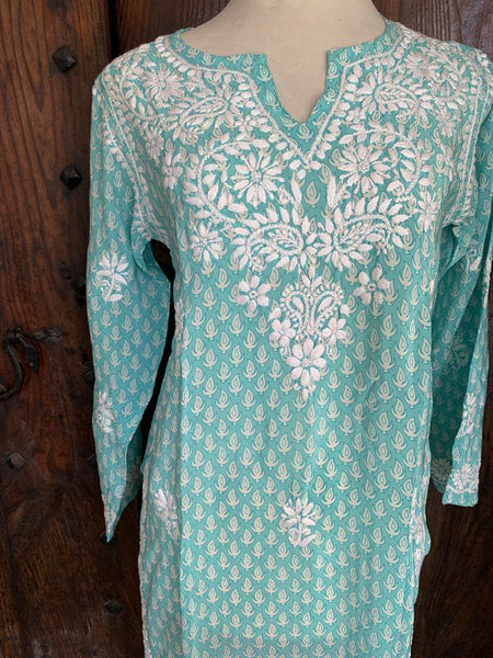 Silk kurta 42 inch with bright turquoise flame design with hand embroidery -  AUROBELLE  IBIZA