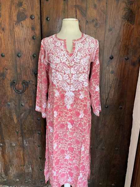 Silk kurta 42 inch with pink beige flower design with hand embroidery -  AUROBELLE  IBIZA