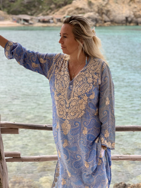 Silk kurta button 42 inch with hand embroidery -  AUROBELLE  IBIZA