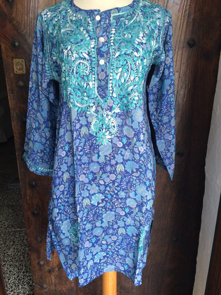 SILK KURTA ,Ibiza style Silk tunic in indigo blue flower design with amazing chikan hand embroidery in shades of ocean blue -  AUROBELLE  IBIZA