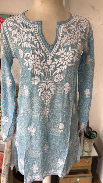 Silk kurta light blue , all with hand embroidery -  AUROBELLE  IBIZA