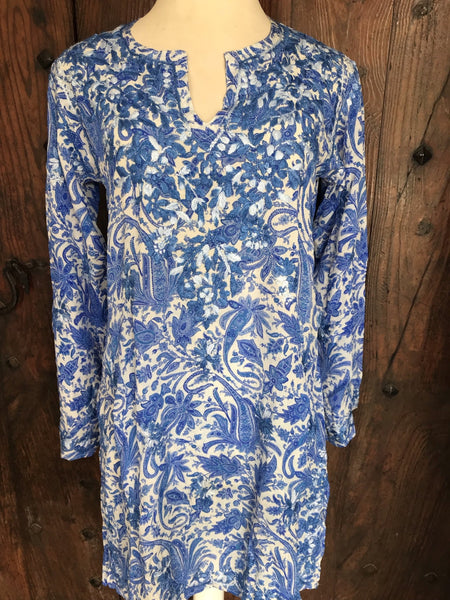 Silk kurta paisley blue , all with hand embroidery -  AUROBELLE  IBIZA
