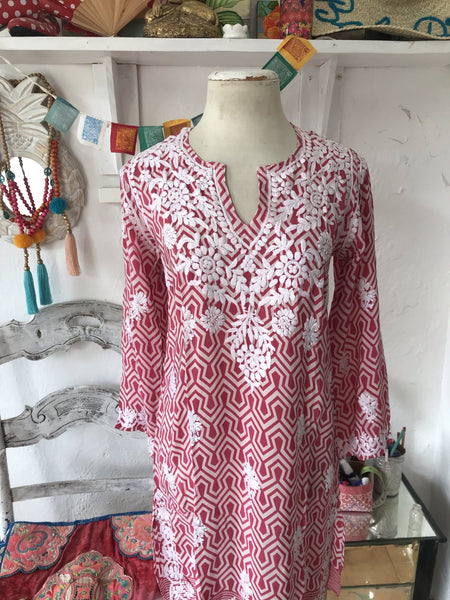 Silk kurta retro red , all with hand embroidery -  AUROBELLE  IBIZA