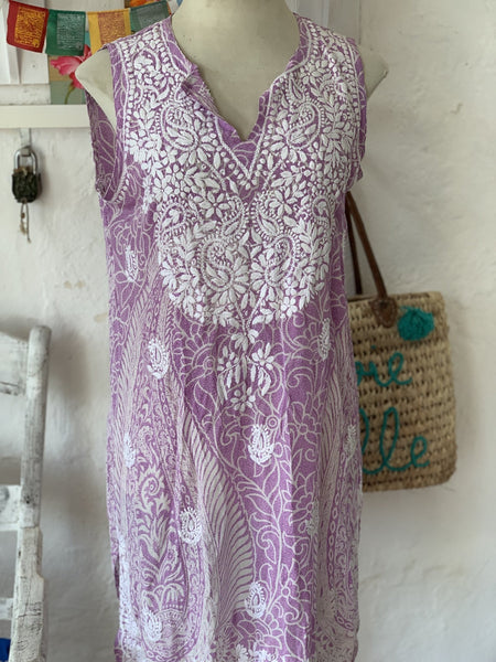 Silk kurta sleeveless summer kurta with hand embroidery -  AUROBELLE  IBIZA