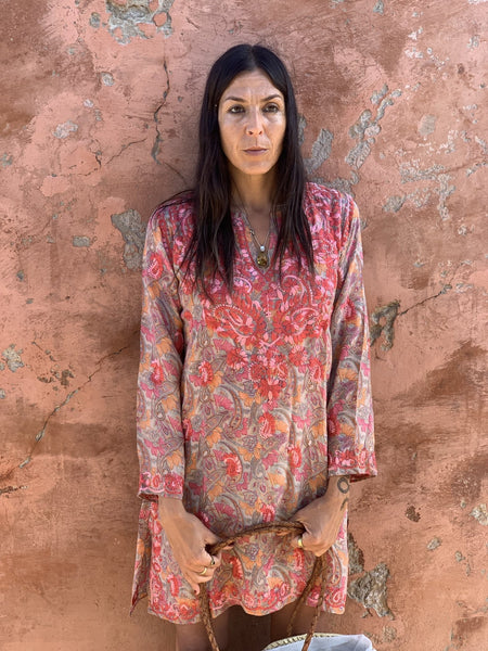 Silk tunica in stunning   design and amazing hand embroidery -  AUROBELLE  IBIZA
