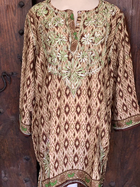 Silky brown and green tunica with hand embroidery -  AUROBELLE  IBIZA