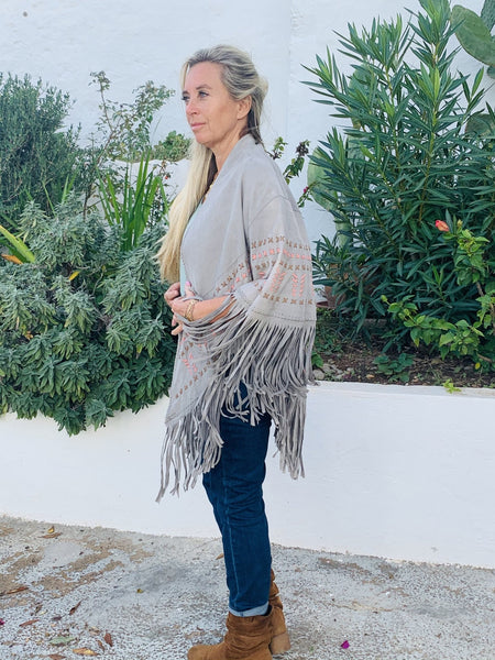 Suede leather hippie chic poncho jacket from Ibiza - AUROBELLE IBIZA