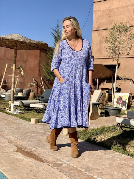 Sun dress  long arm paisley blue -  AUROBELLE  IBIZA