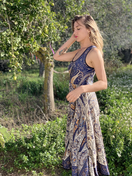 Sundress blue silk -  AUROBELLE  IBIZA