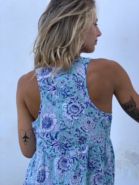 SUNDRESS Maxi in formentera blue -  AUROBELLE  IBIZA