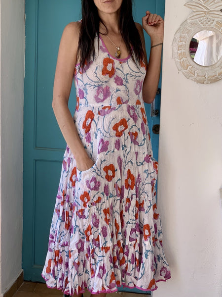 SUNDRESS  sleeveless white poppies -  AUROBELLE  IBIZA