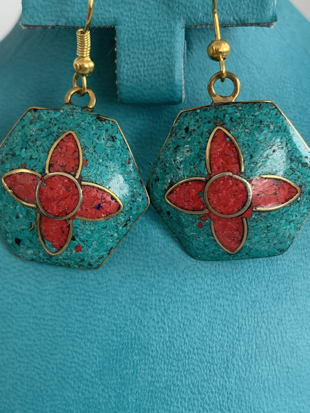Tibeten gem stone earrings -  AUROBELLE  IBIZA