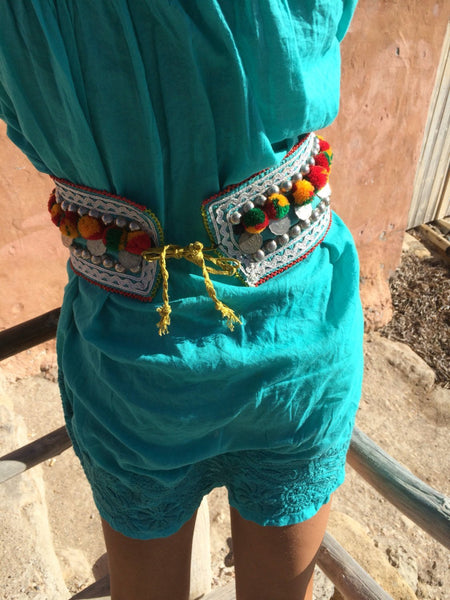 Tribal boho belt  vintage old coins and pompom deco -  AUROBELLE  IBIZA