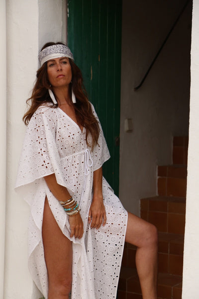 Tulum white resort wear maxi long beach kaftan -  AUROBELLE  IBIZA