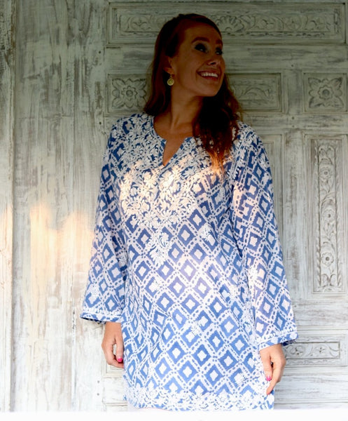 V neck kurta muslin cotton with hand embroidery -  AUROBELLE  IBIZA