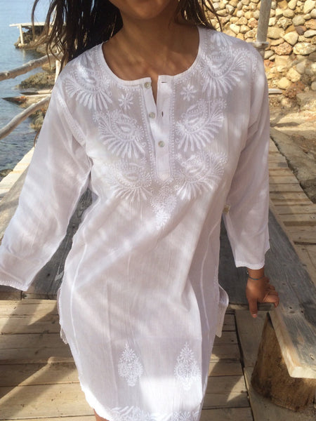 White cotton boho cotton tunica with full hand embroidery -  AUROBELLE  IBIZA