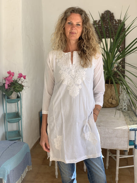 White  cotton tunica with full hand embroidery -  AUROBELLE  IBIZA
