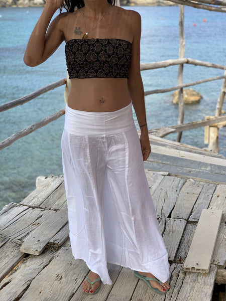 White flairy  rayon trouser with pleads -  AUROBELLE  IBIZA