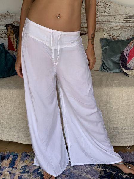 White flairy trouser a classic must have -  AUROBELLE  IBIZA