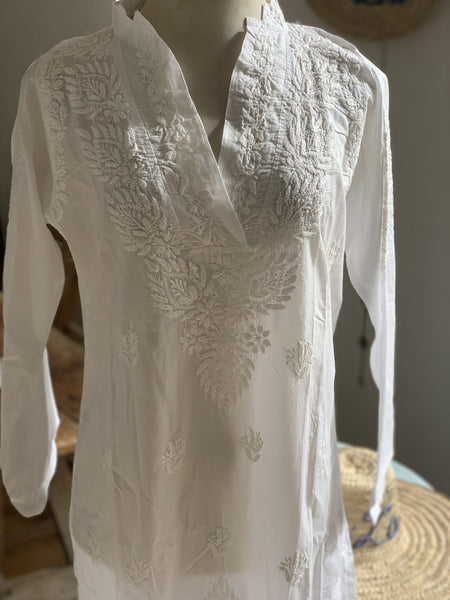 White long cotton  Tunica with full hand embroidery -  AUROBELLE  IBIZA