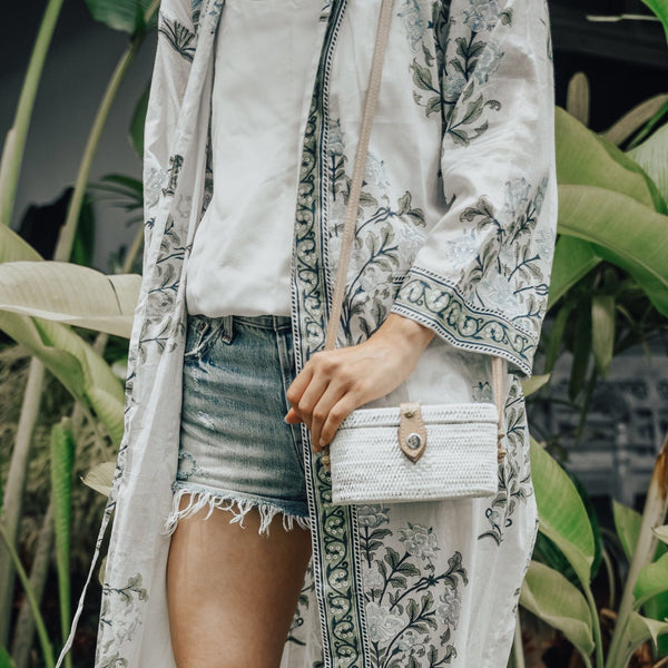 White oval ata grass bag from Bali with love -  AUROBELLE  IBIZA