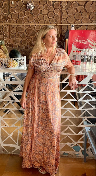 Wrap dress jane in pastel apricot -  AUROBELLE  IBIZA