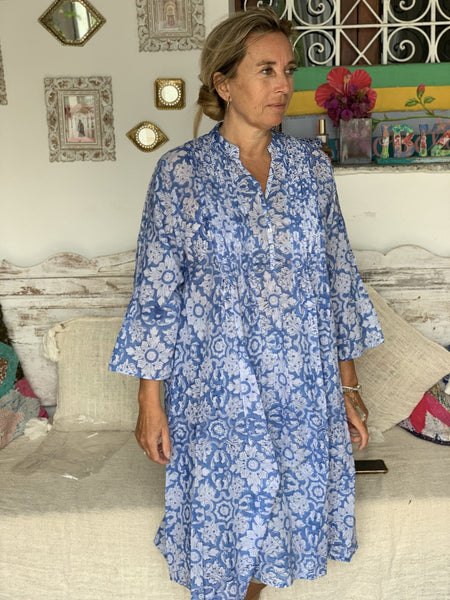 Zazi dress in blue blockprint beauty -  AUROBELLE  IBIZA