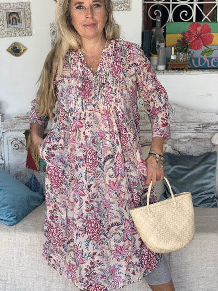 Ziazi  dress  or blouse in  block print Flow beige -  AUROBELLE  IBIZA