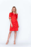 Red Knee Length Dress w Gold Sleeve