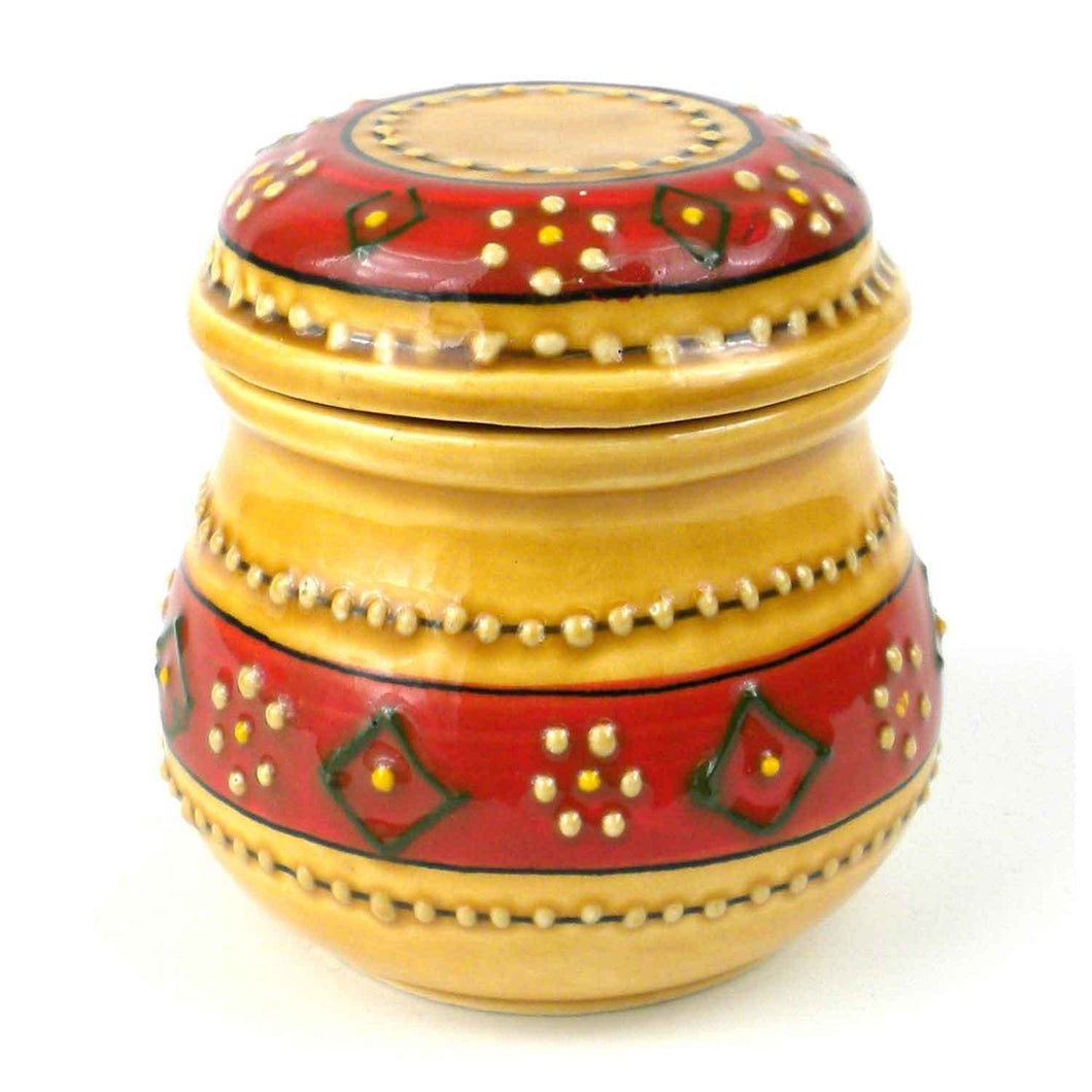 Hand-painted Sugar Bowl in Honey Handmade and Fair Trade