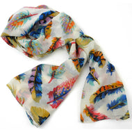 Cream Feather Polyester Scarf