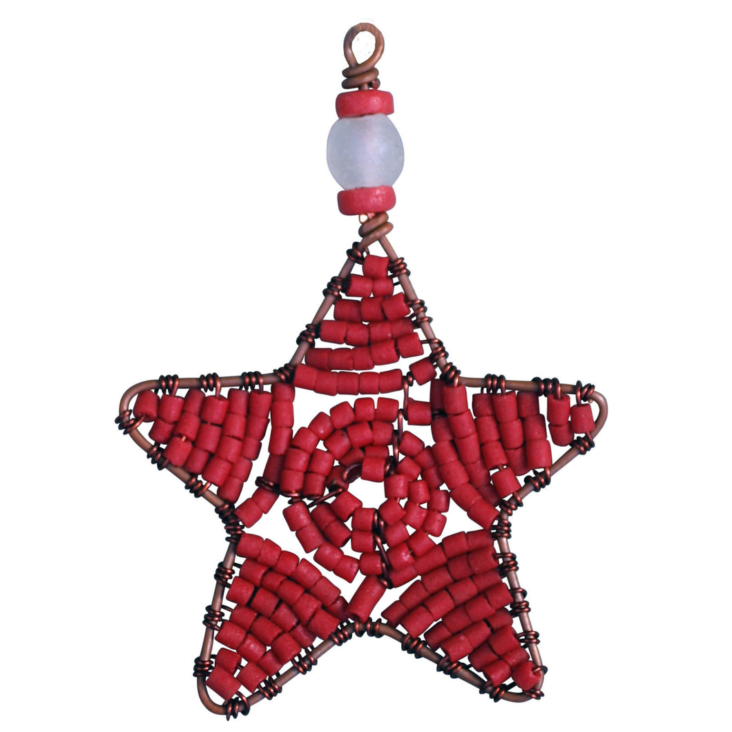 Beaded Star Ornament Red