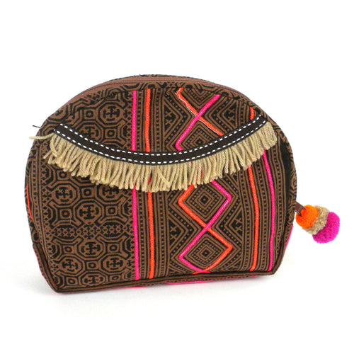 Hmong Batik Cosmetic Bag Earth