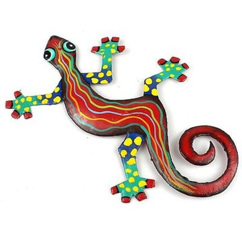 Eight Inch Red Wave Metal Gecko