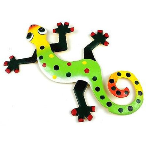 Eight Inch Green Feet Metal Gecko
