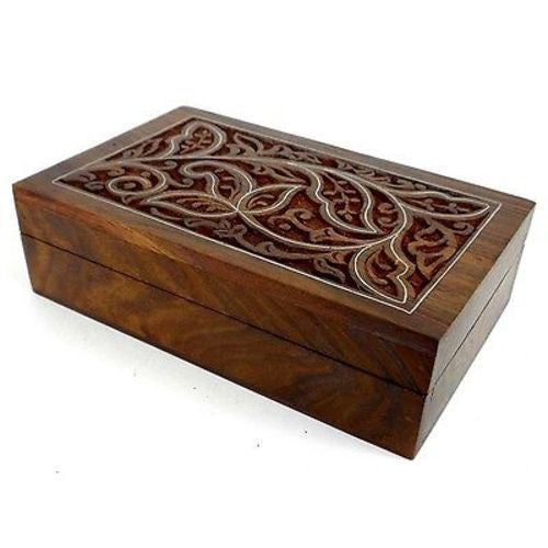 Handcrafted Carved Sheesham Wood Box with Pewter Inlay Handmade and Fair Trade