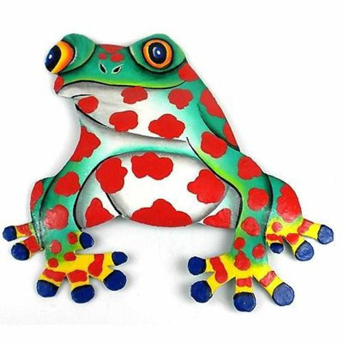 Hand Painted Metal Bullfrog Red Spots Design Handmade and Fair Trade