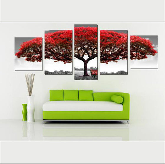 Big Red Tree - 5 Piece Set - TheCanvasWarehouse