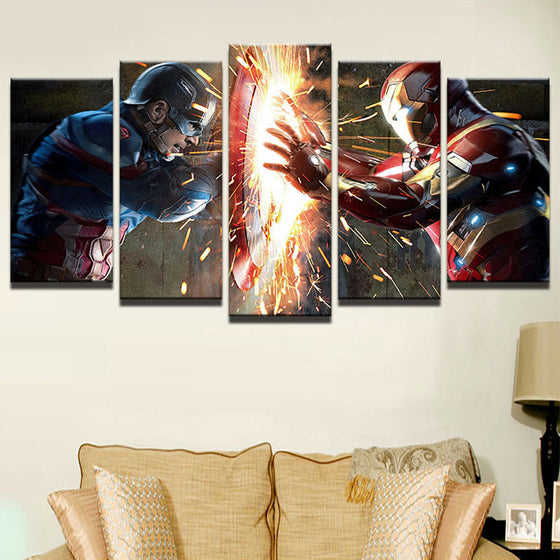 Captain America vs. Iron Man - 5 Piece Set - TheCanvasWarehouse