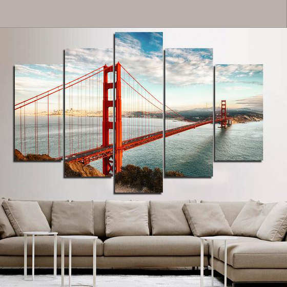 "Golden Gate Bridge ""San Fran"" - 5 Piece Set - TheCanvasWarehouse"