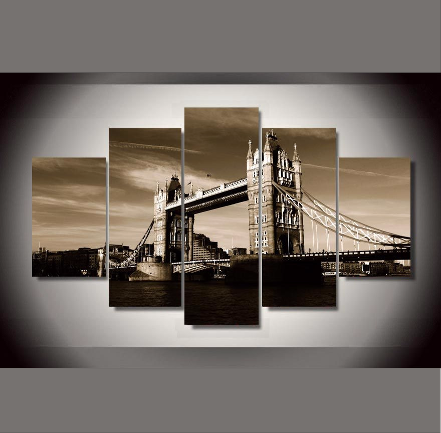 "London Bridge ""Black & White"" - 5 Piece Set - TheCanvasWarehouse"