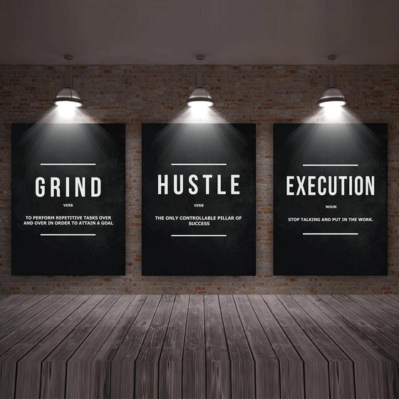 Grind, Hustle, Execution - 3 Pack - TheCanvasWarehouse