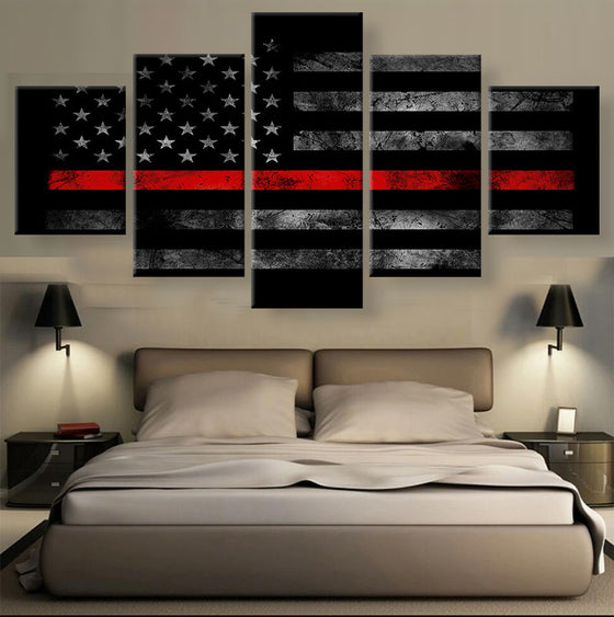 Red Stripe American Flag - 5 Piece Set - TheCanvasWarehouse