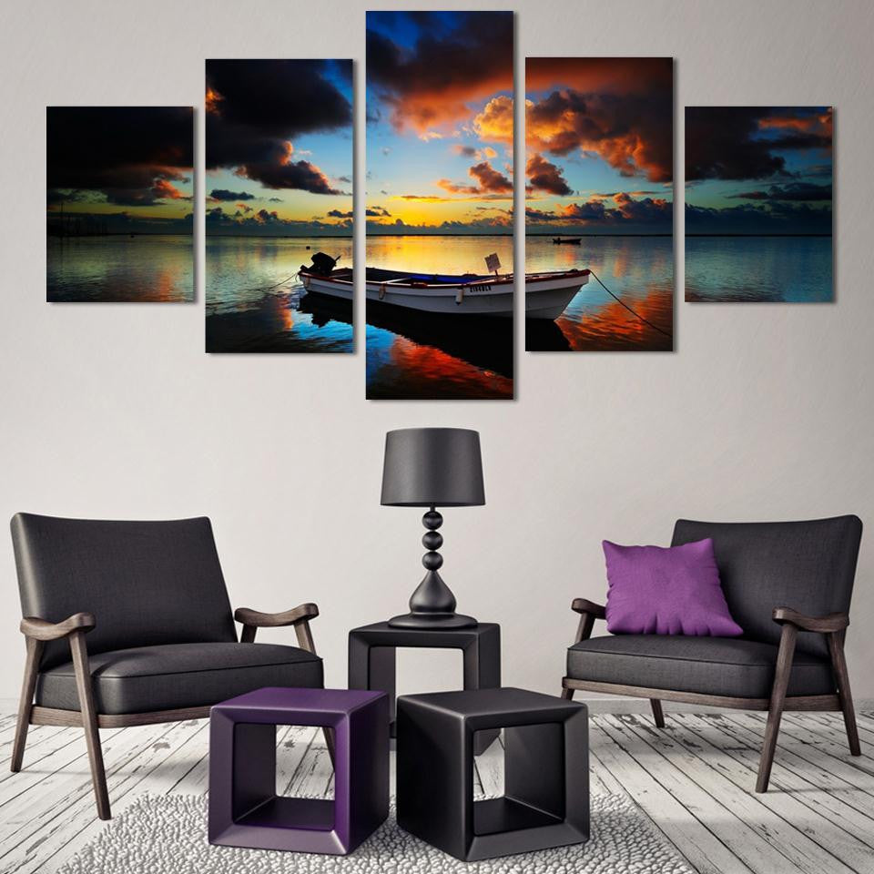 Boat Sunset on the Water - 5 Piece Set - TheCanvasWarehouse