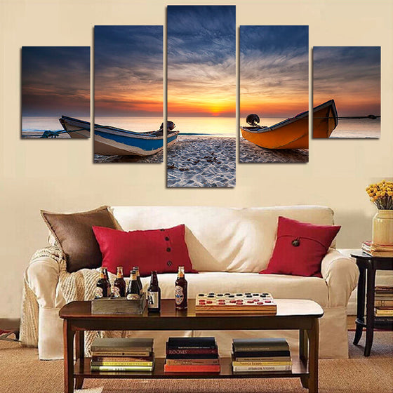 Beach Boats Sunset - 5 Piece Set - TheCanvasWarehouse